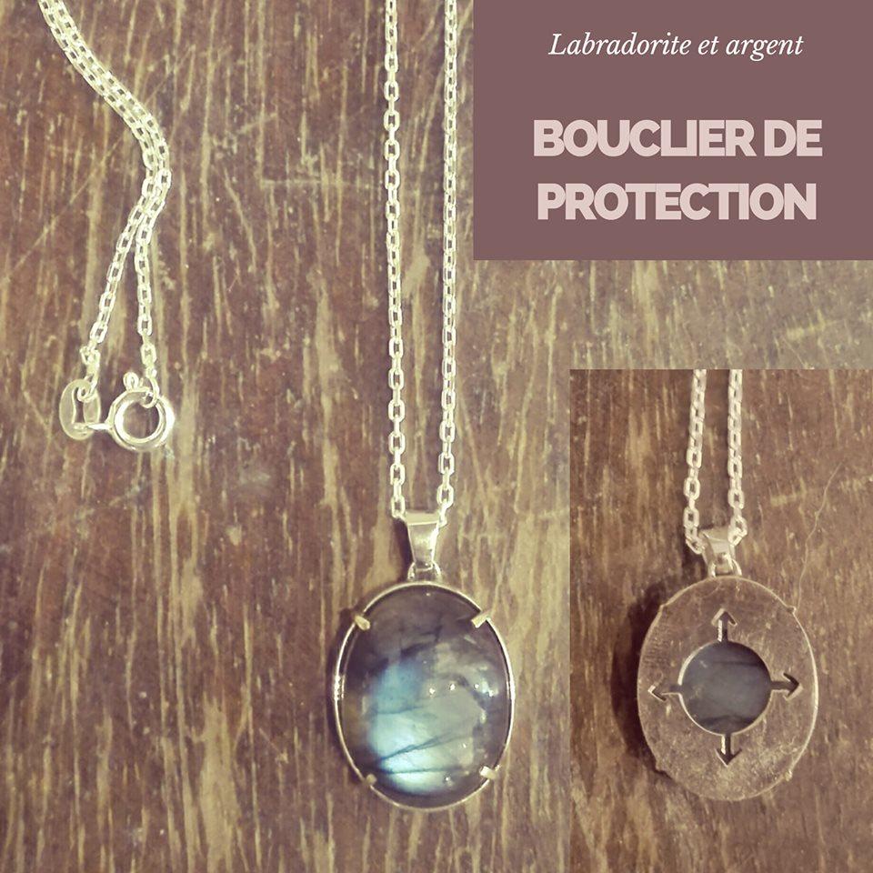 Bouclier de protection labradorite et argent