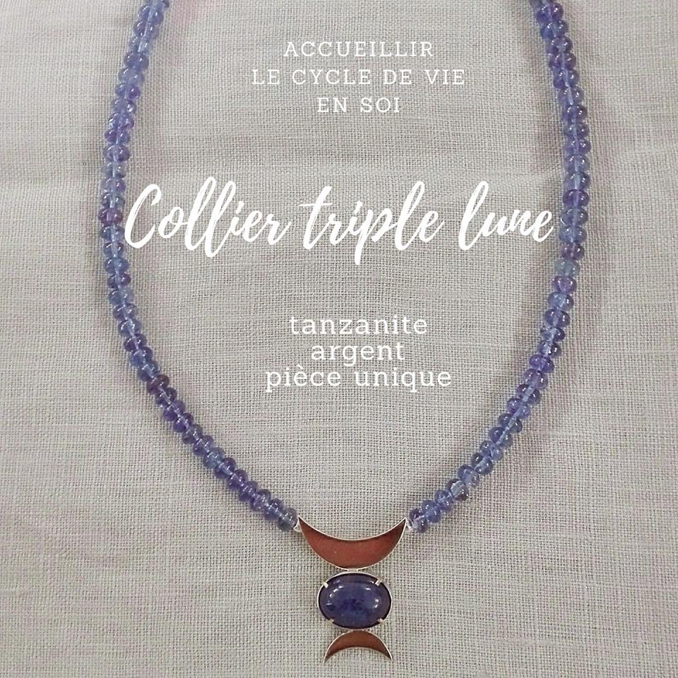Collier triple lune tanzanite et argent