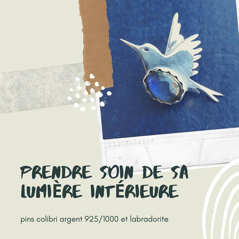 Pin's colibri et labradorite en argent