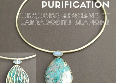 Collier turquoise afghanistan et labradorite blanche