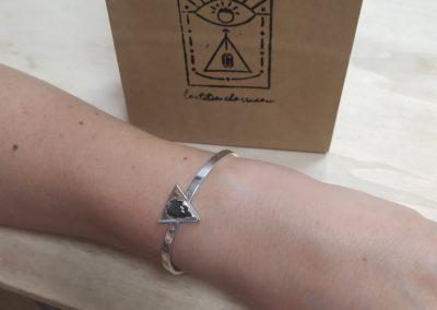 Bracelet argent labradorite et diamants devant